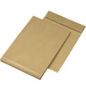 Faltentaschen B4 ohne Fenster 30mm Falte haftklebend 140g braun 25 Stück
