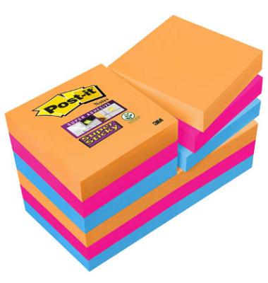 Super StickyNotes 3 Neonfarben OR/PI/BL 51x51mm 12x90 Bl