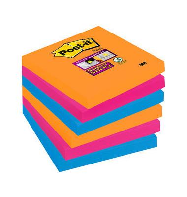 Super StickyNotes 3 Neonfarben OR/PI/BL 76x76mm 6x90 Bl
