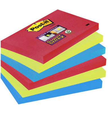 Super Sticky Notes 6556SJ farbig 127x76mm 6x90 Bl