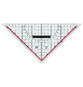 Zeichendreieck 25cm glasklar Skala rot hinterlegt 180°-1°,45°-Linie Markierte