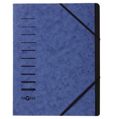 Ordnungsmappe A4 7-teilig blau Aufdruck 1-7 auf dem Deckel mit Eck
