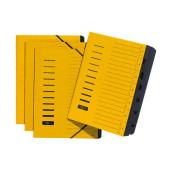 Ordnungsmappe A4 7-teilig gelb Aufdruck 1-7 auf dem Deckel mit Eck