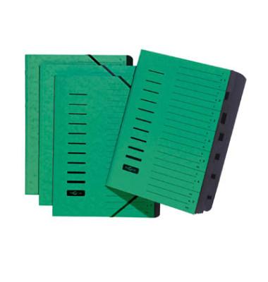 Ordnungsmappe A4 7-teilig grün Aufdruck 1-7 auf dem Deckel mit Eck