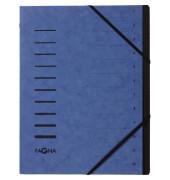 Ordnungsmappe A4 12-teilig blau Aufdruck 1-12 auf dem Deckel mit Ec
