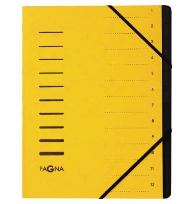 Ordnungsmappe A4 12-teilig gelb Aufdruck 1-12 auf dem Deckel mit Ec