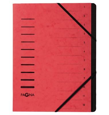 Ordnungsmappe A4 12-teilig rot Aufdruck 1-12 auf dem Deckel mit Ec
