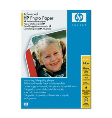 Inkjet-Fotopapier A4 Q5456A Advanced einseitig hochglänzend 250g 25 Blatt