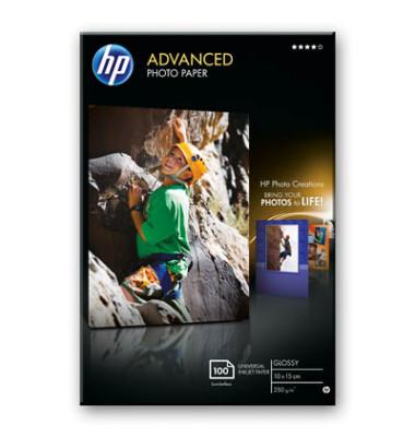 Inkjet-Fotopapier 10x15cm Q8692A Advanced einseitig hochglänzend 250g 100 Blatt