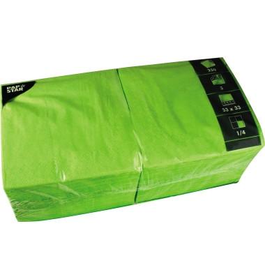 Serviette 3-lagig 33x33cm 1/4 Falz 3-lagig apfelgrün unifarbig