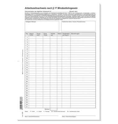 Arbeitszeitnachweis nach § 17 Mindestlohngesetz A4 24 Blatt