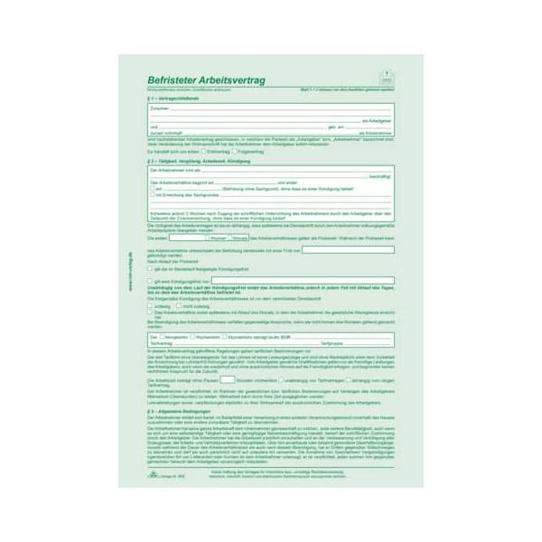 RNK Befristeter Arbeitsvertrag - SD 2 x 2 Blatt, DIN A4, selbst-