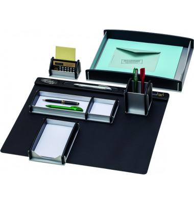 Schreibtischset 968930 schwarz/silber 6-teilig Echtholz Buche