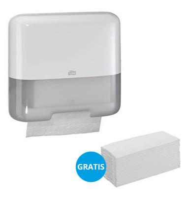 StarterPack Papierhandtuchspender 553100 Elevation Mini H3 ZZ-/Lagen-Falz weiß