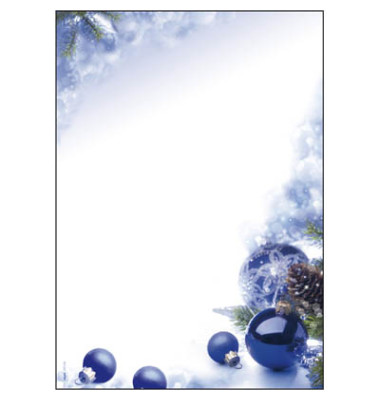 Weihnachtspapier Blue Harmony A4 100 Blatt DP034