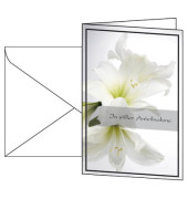 Trauerkarte Amaryllis inkl.Um. weiß 115x170mm 10 St