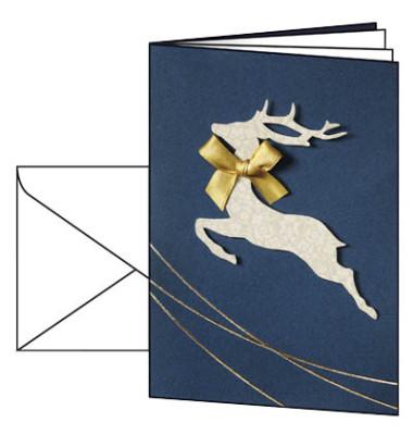Weihnachtskarten Santas Reindeer A6 10 Stück inkl. weißen Umschlägen DS020