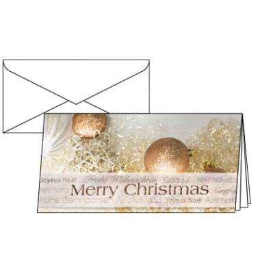 Weihnachtskarten Christmas Glitter Din Lang 10 Stück inkl. weißen Umschlägen DS029