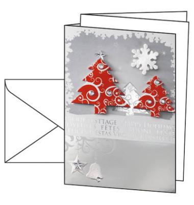 Weihnachtskarten Three Trees A6 10 Stück inkl. weißen Umschlägen DS454