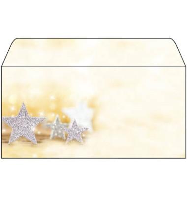 Weihnachtsumschlag Glitter Stars Din Lang 50 Stück ohne Fenster DU035