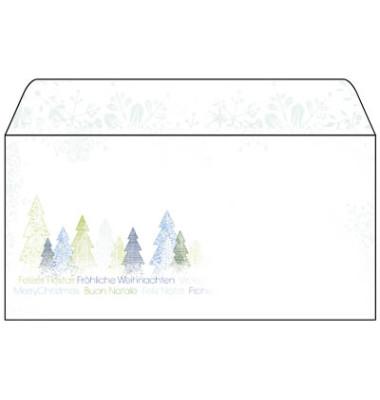 Weihnachtsumschlag Trees Din Lang 50 Stück ohne Fenster DU090
