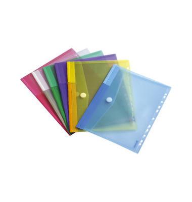 Dokumententasche t-collection A4 farbig sortiert/transparent mit Abheftvorrichtung 12 Stück