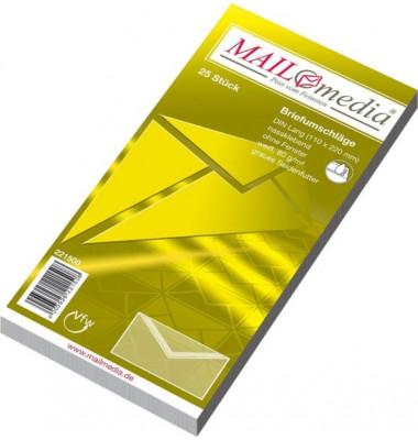 Briefumschläge Din Lang ohne Fenster nassklebend 80g weiß 25 Stück