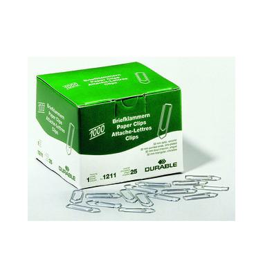Büroklammern 1211-25, 32mm, Metall verzinkt silber, 1000 Stück