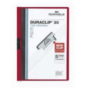 Klemmhefter Duraclip A4 transparenter Vorderdeckel aubergin für 30 Blatt