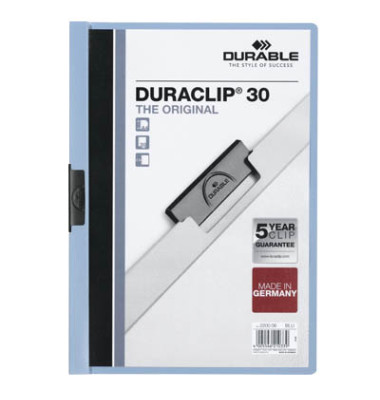 Klemmhefter Duraclip A4 transparenter Vorderdeckel hellblau für 30 Blatt