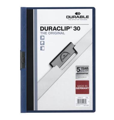 Klemmhefter Duraclip A4 transparenter Vorderdeckel dunkelblau für 30 Blatt