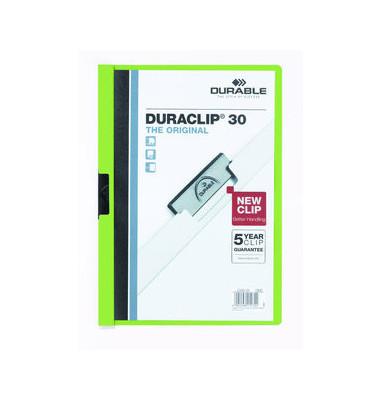 Klemmhefter Duraclip A4 transparenter Vorderdeckel grün für 30 Blatt