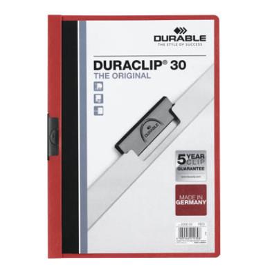 Klemmhefter Duraclip A4 transparenter Vorderdeckel rot für 30 Blatt