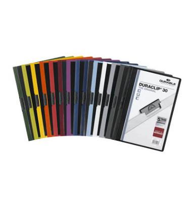 Klemmhefter Duraclip A4 transparenter Vorderdeckel farbig sortiert für 30 Blatt 25 Stück