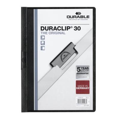 Klemmhefter Duraclip A4 transparenter Vorderdeckel schwarz für 30 Blatt