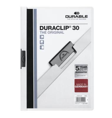 Klemmhefter Duraclip A4 transparenter Vorderdeckel weiß für 30 Blatt