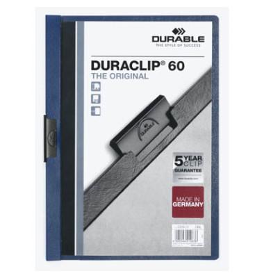 Klemmhefter DURACLIP 60 2209-07, A4, für ca. 60 Blatt, Kunststoff, blau