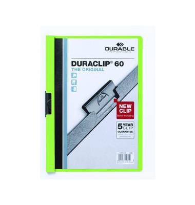 Klemmhefter Duraclip A4 transparenter Vorderdeckel grün für 60 Blatt