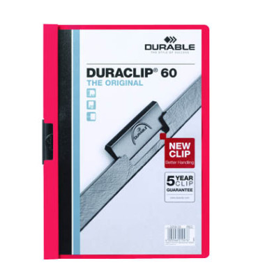 Klemmhefter Duraclip A4 transparenter Vorderdeckel rot für 60 Blatt