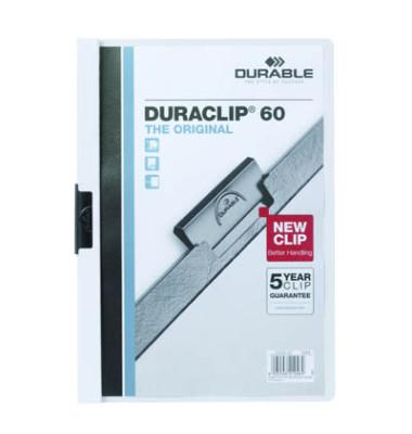 Klemmhefter Duraclip A4 transparenter Vorderdeckel weiß für 60 Blatt