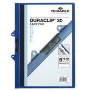 Klemmhefter DURACLIP 30 EasyFile 2229-07, A4, für ca. 30 Blatt, Kunststoff, mit Abheftmechanik, blau
