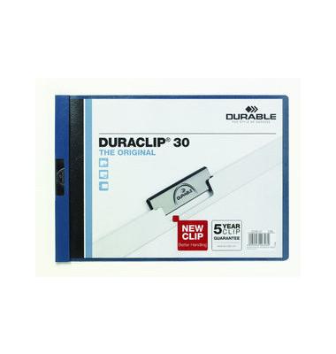 Klemmmappe Duraclip A4-quer dunkelblau für 30 Blatt