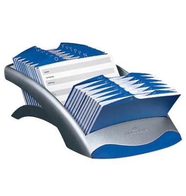 Visitenkarten- Adresskartei Telindex Desk Vegas silbergrau für 500 Karten Kunststoff