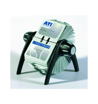Rollkartei Telindex Flip Vegas schwarz für 400 Karten Kunststoff