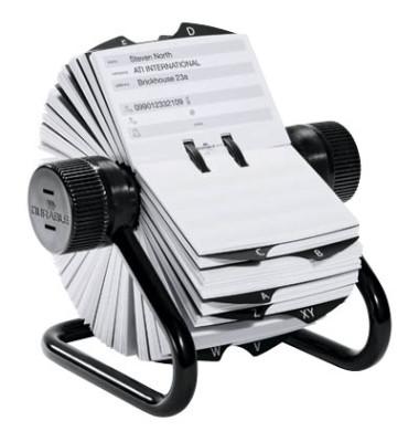 Rollkartei Telindex schwarz für 500 Karten Metall