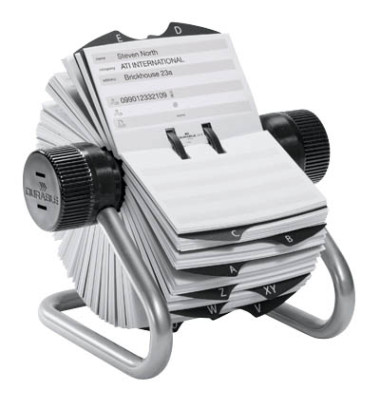 Rollkartei Telindex silbergrau für 500 Karten Metall