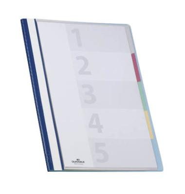 Organisationshefter Divisoflex blau 5-f. Teilung VDtransp