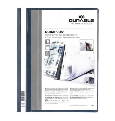 Schnellhefter Duraplus A4+ überbreit dunkelblau PVC Kunststoff kaufmännische Heftung bis 200 Blatt