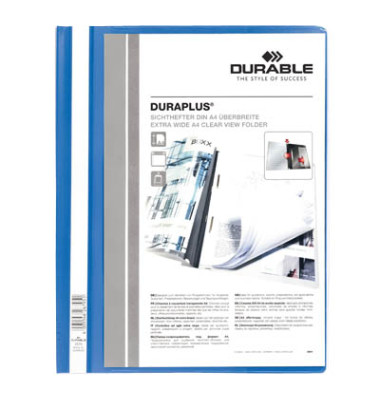 Schnellhefter Duraplus A4+ überbreit blau PVC Kunststoff kaufmännische Heftung bis 200 Blatt