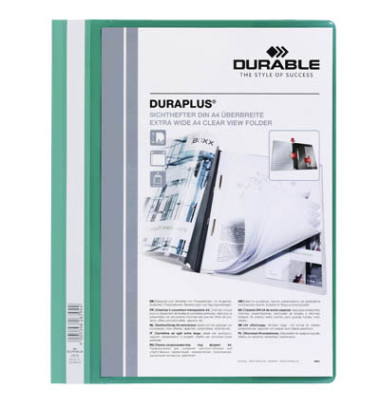 Schnellhefter Duraplus A4+ überbreit grün PVC Kunststoff kaufmännische Heftung bis 200 Blatt